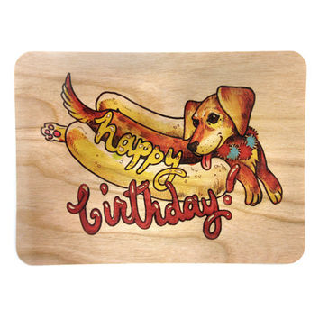 Birthday Wood Card Hot Dog Birthday