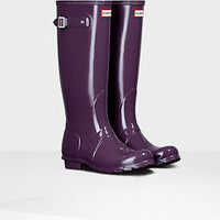 HUNTER ORIGINAL TALL GLOSS PURPLE URCHIN WELLINGTON BOOTS Welly NWT BN