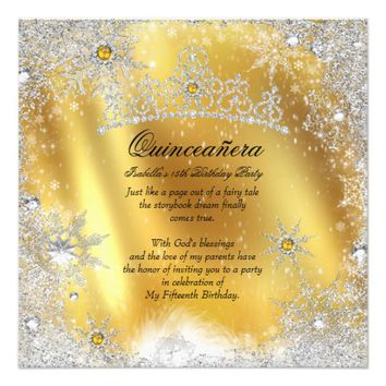 "Quinceanera 15th Winter Wonderland Silver Gold 5.25"" Square Invitation Card"