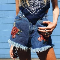 Denim Summer Hot Sale Embroidery Tassels High Waist Pants Shorts [11524098383]