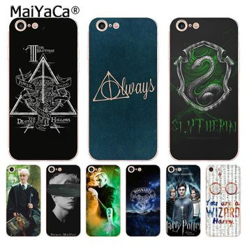 MaiYaCa always Harry Potter Deathly Hallows Colored Drawing soft tpu phone Case for iPhone 8 7 6 6S Plus X 5 5S SE 5C case Cover