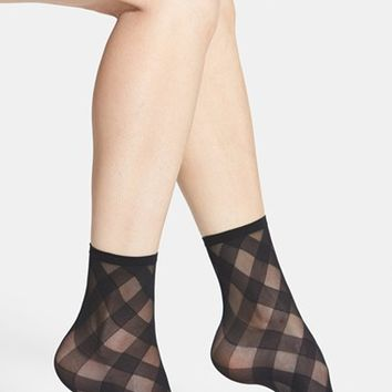 Women's Hue 'Diagonal Ribbon' Sheer Ankle Socks