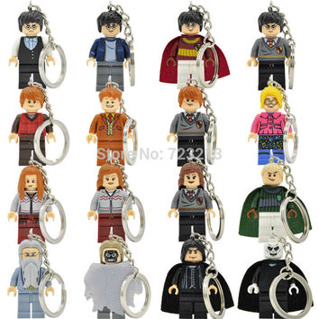 Harry Potter Block Keychain Hermione Draco Malfoy Snape Lord Voldemort Ring DIY Key Chain Building Blocks Models Toys