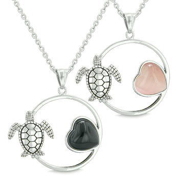 Amulets Cute Sea Turtles Love Couples Set Heart Simulated Onyx Pink Cats Eye Pendant Necklaces