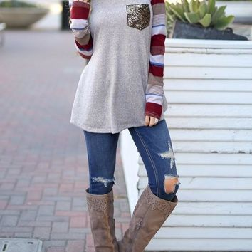 Burgundy Striped Patchwork Sequin Pockets Round Neck Long Sleeve Casual T-Shirt