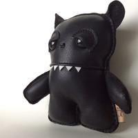Plush Monster Black Bear, Hipster Monster, Handmade Teddy Toy  ooak gift idea for her, him, kids. - Unique Leather Heirloom Keepsake