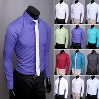 Slim Fit Solid Colored Collared Shirt with Black Buttons
