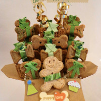 Dog biscuit treat gift basket, unique gift, green camouflage, custom, birthday, special occasion, personalized