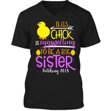 Funny Easter Pregnancy Announcement T Shirt Big Sister Mens Printed V-Neck T