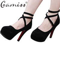 Gamiss Women High-heeled Pumps Platform Sandals Round Toe High Heels Women Shoes Cross Strap Red Bottom Party Wedding Shoes