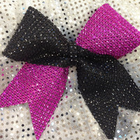 Custom Made Tic Toc Rhinestone Bling Cheer Cheerleading Dance Ribbon Bow Ribbon