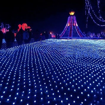 100 LED String Blue Light Net Mesh Decorative Fairy Lights Twinkle Lighting for Christmas Wedding Party 220V EU Plug TK1119|27701 (Color: Blue) = 1945944580