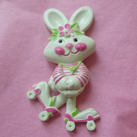 70s Avon RAPID RABBIT Brooch Bunny Pin Pal Fragrance Glace Solid Perfume FULL Vintage Broach Bunny Roller Skates 70s Nostalgia Jewelry Gift