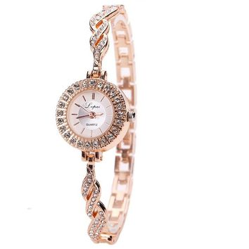 Rose Gold Stainless Steel Crystal Wrist Watch