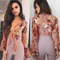 Women's Fashion Summer Sexy Print Tops [505157615670]