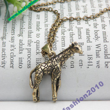 Sales Pretty retro copper 3d giraffe necklace pendant jewelry vintage style