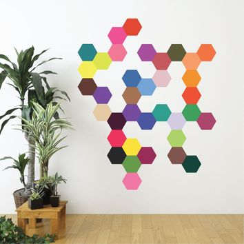 Wall Decals Hexagons 36 Mod Multi-color Solid Hexagon Wall Decals