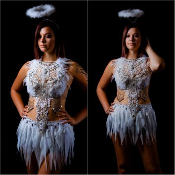 White Lace Rhinestone Feather Angel Bra and Skirt Costume