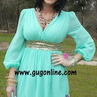 Swept Off My Feet Mint and Gold Sequin Dress