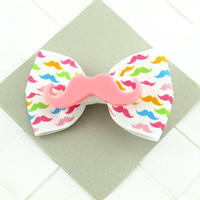 Rainbow Mustaches Hair Bow Clip Signature Style (with pink resin center) (x1)