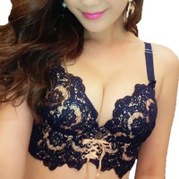 New Sexy Bra Sets Seamless Push Up Bras Panty Embroidery Lace 32 34 36 38 A B Cup Women Underwear Set Small Chest Girls Lingerie