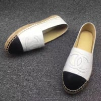 Chanel Fashion Espadrilles For Women Shoes Black/White G-TFDXY-XNEDX