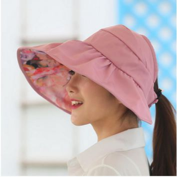 wide brim summer hats for women sun hat panama reversible UV protection floral beach cap sombrero visor sunhat for lady female