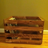 Vinyl Record Holder Wood Crate
