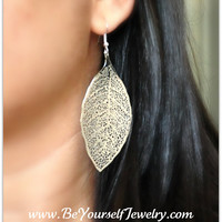 Leaf Earrings Boho Style Filigree Earrings Large Lightweight Rhodium Plated Glossy Filigree Hypoallergenic Ear Wires Ready to ship