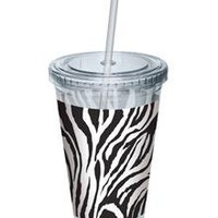 Zebra Print Clear Cup with Straw in Summer Fun New