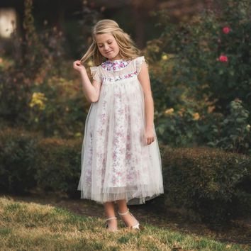 Magnolia Frolicking Fields Floral Ivory Tulle Ruffle & Tulle Smock Dress