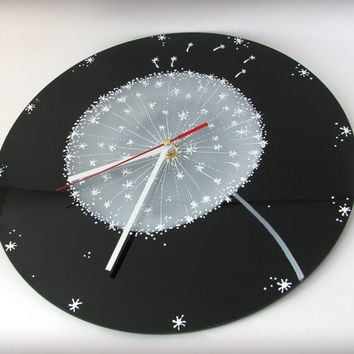 Wall Clock Big White on Black Dandelion Hand Painted Glass Rustic Contrast Colors Ready to Ship