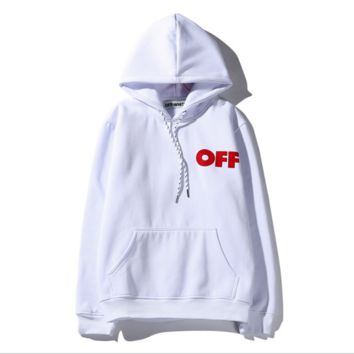 Tide brand off white Religious oil painting twill print men and women hooded sweater coat White