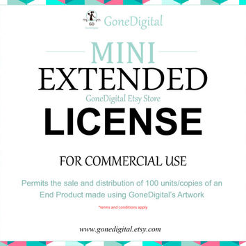 Mini Extended License for Commercial Use No Credit Add-on: Permit the Sale of 100 Units of an End Product Use with Digital Papers Clip Art