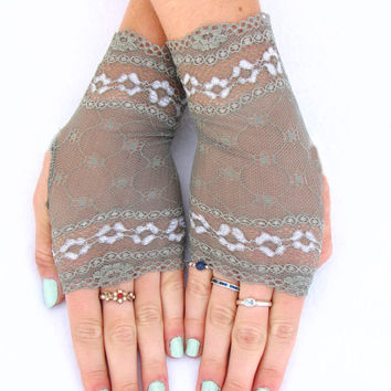 Olive green lace fingerless gloves Autumn Wedding Bridesmaid Steampunk Victorian