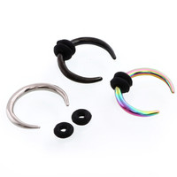 1PC Steel Septum Clickers Nose Hoops Nose Rings Septum Nose Rings Horseshoe Hoop Ear Taper Cuvved Bars 16G 14G Sex Body Jewelry