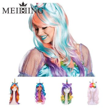 MEIDDING-Pastel Rainbow Unicorn/Bunny Wig/ Princess Wig Hair Birthday/Bachelorette/hen Party Decoration New Year Party Supply
