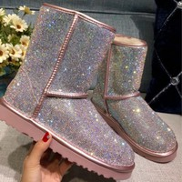 UGG pearl rhinestone warmth in the tube snow boots pink