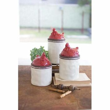 Set Of 3 Red Ceramic Rooster Top Canisters