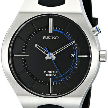 Seiko SKA651 Men's Watch Modern Dial Kinetic With Black Rubber Strap And Silver Case