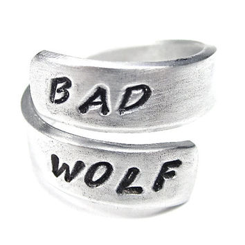 Bad Wolf - Dr. Who Quote Ring- Whovian Jewelry- Rose Tyler Ring