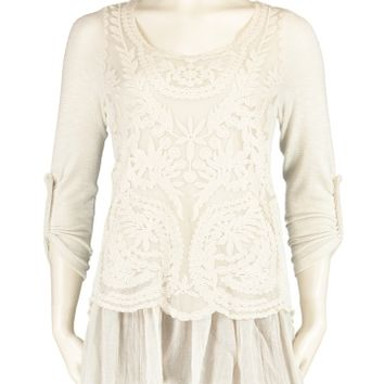 Tempo Paris Lace Front Roll Tab Tunic - Women | Stein Mart