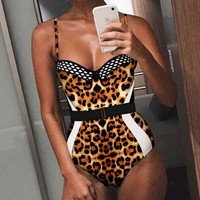 Summer New Fashion Snake Leopard Texture Print Solid Color Straps One Piece Bikini Swimsuit
