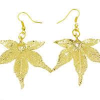 Real Leaf Hook Drop EARRINGS Japanese Maple Dipped in 24K Yellow Gold