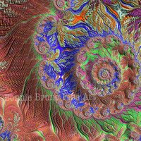Canvas Gallery Wrap - GARDEN DREAM fractal art,colorful swirl, fractal art on canvas, home decor, wall art for home or office, apartment art