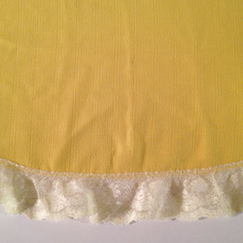 Vintage Canary Yellow Round Tablecloth Edged with by ModernFiction
