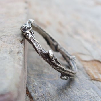 Sterling Silver Budding Twig Wedding Band