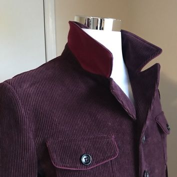 New $2015 Gucci Men's Velvet Jacket  Vest Burgundy 42 US (52 Euro) Italy