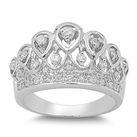 925 Sterling Silver CZ Crown Royale Ring 13MM