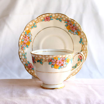 Vintage Royal Albert Teacup & Saucer Crown China Retro Floral Chintz